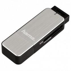 Hama čtečka karet USB 3.0 SD/microSD, stříbrná