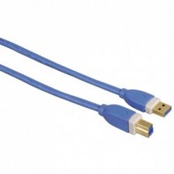 Hama USB 3.0 kabel typ A-B, 3 m, modrý