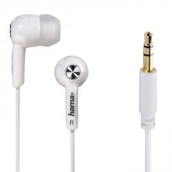 Hama sluchátka Basic4Music, silikonové špunty, bílá