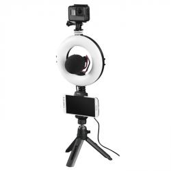 """Hama kruhové LED světlo 6,7"""" pro smartphone/tablet, s Bluetooth spouští a stolním stativem"""